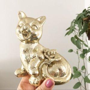 Vintage Ceramic Gold Cat Figure